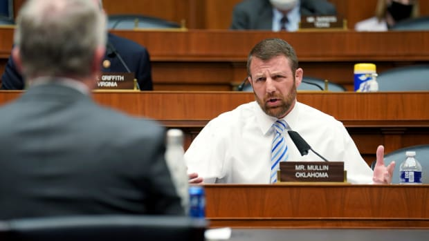 Rep. Markwayne Mullin, R-Okla., asks questions to Richard Bright, former director of the Biomedical Advanced Research and Development Authority, during House Energy and Commerce Subcommittee on Health hearing Thursday, May 14, 2020, on Capitol Hill in Washington. (Greg Nash/Pool via AP)