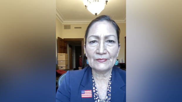 Rep. Deb Haaland, Laguna and Jemez Pueblos, gives an update Wednesday while safely sheltering in place. The video came after violent Trump supporters stormed the U.S. Capitol. (Screenshot from Rep. Deb Haaland video)