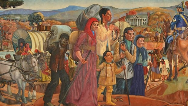 A mural by artist Elizabeth Janes depicts the arrival of the Cherokee Nation in Oklahoma in the 1830s. Painted from 1938-39, the 8-by-15-foot mural is on display at the Oklahoma Historical Society in Oklahoma City. (Image courtesy Oklahoma Historical Society)