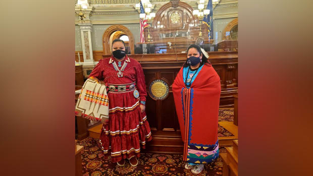 Left to right: Reps. Christina Haswood and Ponka-We Victors pose for a photo after being sworn into the Kansas state legislature. (Photo by Rep. Ponka-We Victors, Facebook)