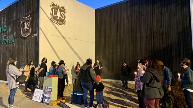 Oak Flat supporters held a prayer vigil outside a Tonto National Forest office in Phoenix on Thursday, Jan. 14, 2021. (Photo by Carina Dominguez, Indian Country Today)
