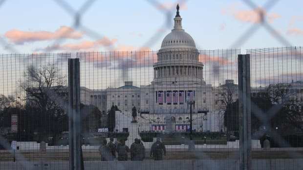 The U.S. Capitol guarded by the National Guard on January 18, 2021, a few days before the inauguration. (Photo by Jourdan Bennett-Begaye, Indian Country Today)