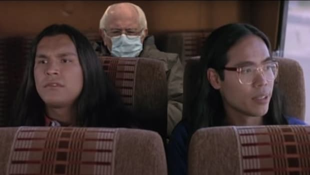"Sen. Bernie Sanders photoshopped into a scene of the movie ""Smoke Signals."" (Photo courtesy of IllumiNative Facebook page)"