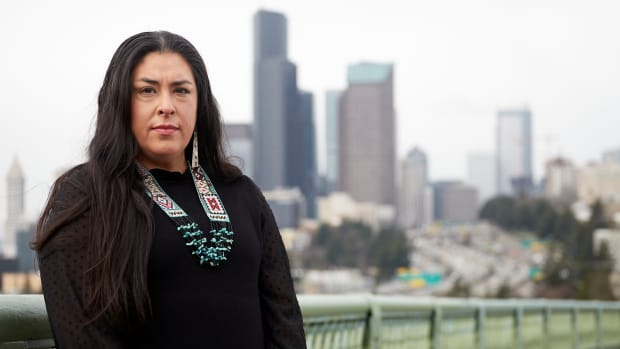 Colleen Echohawk is executive director of the Chief Seattle Club. She is Pawnee and Athabascan. Monday she announced that she's a candidate to be Seattle's next mayor. (Campaign photo by Ulysses Curry.)