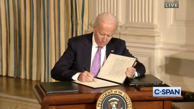 """President Joe Biden signed the executive order, """"a memorandum for the executive departments and agencies, tribal consultation and nation relationships"""" on Jan. 26. (Screenshot)"""