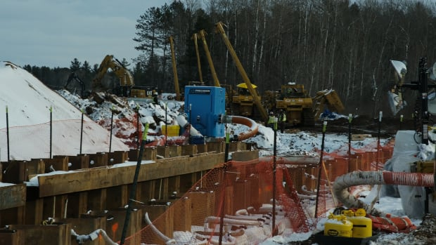 Construction of the Enbridge Line 3 pipeline was underway at the Fond du Lac reservation in Minnesota in February 2021. (Photo by Mary Annette Pember, Indian Country Today)