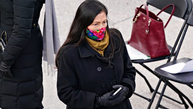In this Jan. 20, 2021, file photo, Rep. Deb Haaland, a Democrat from New Mexico and nominee to be secretary of the interior for President Joe Biden, wears a mask while attending the 59th presidential inauguration in Washington. If confirmed, she would lead the Interior Department, which oversees tribal affairs, and she would be the first Native American in a Cabinet post. (Kevin Dietsch/Pool Photo via AP, File)