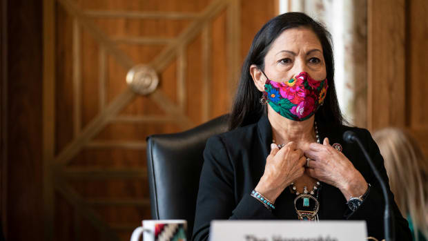 Rep. Debra Haaland, D-N.M., arrives to testify before a Senate Committee on Energy and Natural Resources hearing on her nomination to be Secretary of the Interior on Capitol Hill in Washington, Wednesday, Feb. 24, 2021. (Sarah Silbiger/Pool via AP)