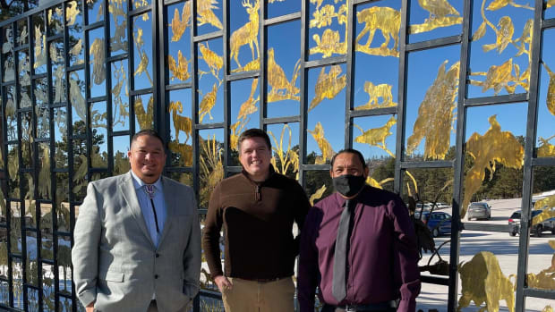 """Crazy Horse Memorial's new leadership team: Associate Director Whitney A. Rencountre, Director Joshua Rudnik, and Manager of Residence Life Nathaniel """"Nate"""" Watahomigie (Crazy Horse Memorial)."""