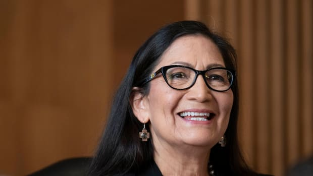Rep. Debra Haaland, D-N.M., testifies before a Senate Committee on Energy and Natural Resources hearing on her nomination to be Secretary of the Interior on Capitol Hill in Washington, Wednesday, Feb. 24, 2021. (Sarah Silbiger/Pool via AP)