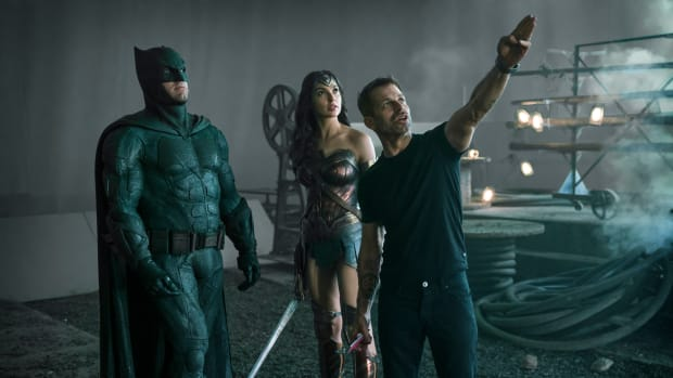 """Ben Affleck (Batman / Bruce Wayne), Gal Gadot (Diana Prince / Wonder Woman), Zack Snyder (Director) during the filming of """"Zack Snyder's Justice League"""" (Photograph by Clay Enos/HBO Max)"""