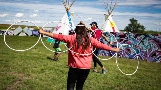 Pictured: Cheyenne River Youth Project's RedCan invitational graffiti jam in summer 2019. All photos were taken in CRYP's public art park, which soon will be home to the Waniyetu Wowapi Lakota Youth Arts & Culture Institute. Construction will begin in July 2021, with a groundbreaking ceremony planned during RedCan 2021.