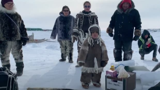 Qaggiq Time: Iqaluit arts group brings back Inuit tradition – with an eye to the future. March 23, 2021. (Photo via APTN)