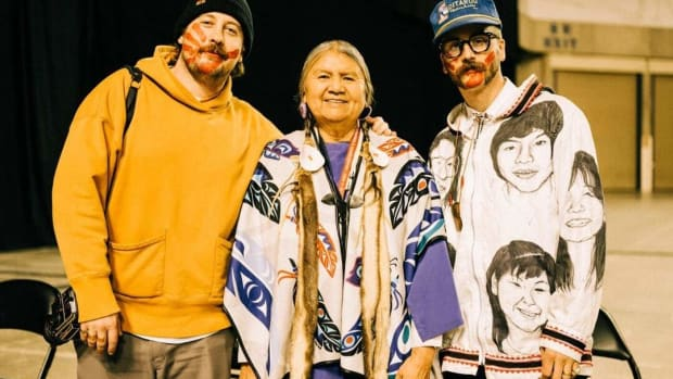 Portugal. the Man band members after a performance to raise awareness about Missing and Murdered Indigenous Women (Photo courtesy of the PTM Foundation).