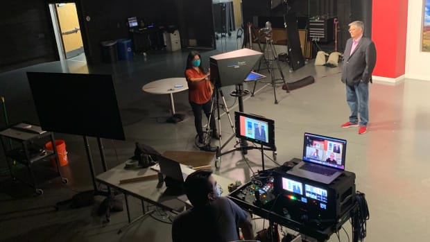 Indian Country Today's broadcast studio. (Photo by Tomás Amaya Karmelo, Indian Country Today)