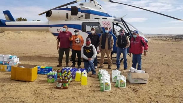 Volunteers deliver supplies to the Navajo Nation to help veterans living on the reservation. The efforts were coordinated by a new group called Native American Sustainability for Veterans and Those in Uniform. March, 2021 (Photo courtesy of Native American Sustainability for Veterans and Those in Uniform)