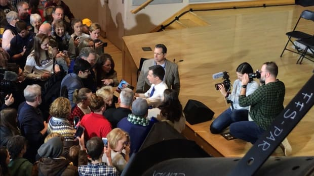 """Pete Buttigieg's rally in Keene New Hampshire at Keene State College where over 975 people attended the rally for """"Mayor Pete."""" (Photo of Scarlett Lisjak)"""