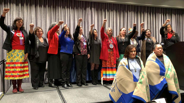 """Native women at the 25th National Indian Women's """"Supporting Each Other"""" Honoring Lunch in Washington, D.C. singing the Women's Honor Song. (Photo by Jourdan Bennett-Begaye)"""