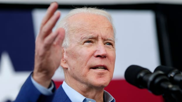Pictured: Democratic presidential candidate former Vice President Joe Biden speaks during a campaign rally March 2, 2020, at Texas Southern University in Houston.