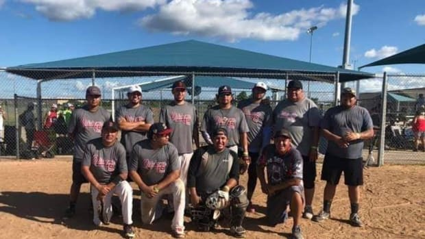 The Oklahoma 49ers are expected to return to the All-Indian state fastpitch tournament in Oklahoma this year. Front row, left to right: Tommy Melendez, Cheyenne and Arapaho; Jordan Woods, Cheyenne and Arapaho; Thomas Budder, Cherokee; and Jason Underwood, Choctaw. Back row, left to right: Ivan Trout, Cheyenne and Arapaho; James Monroe, Chickasaw, Choctaw, Creek; David Martinez, Wichita; Todd Morgan, Chicaksaw, Choctaw, Mississippi Choctaw, Creek; Trey Woods, Cheyenne and Arapaho; George Woods, Cheyenne and Arapaho; and Tommy Trout, Cheyenne and Arapaho. (Courtesy Lisa Smith-Longman)