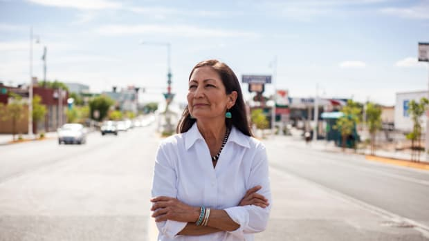 FILE - Deb Haaland poses for a portrait Tuesday, June 5, 2018 in a Nob Hill Neighborhood in Albuquerque, N.M. Haaland is one of two Native American women who marked historic congressional victories as a record number of women were elected to the U.S. House following an election cycle that also saw a significant boost in Native American female candidates at the state and local level. (AP Photo/Juan Labreche)
