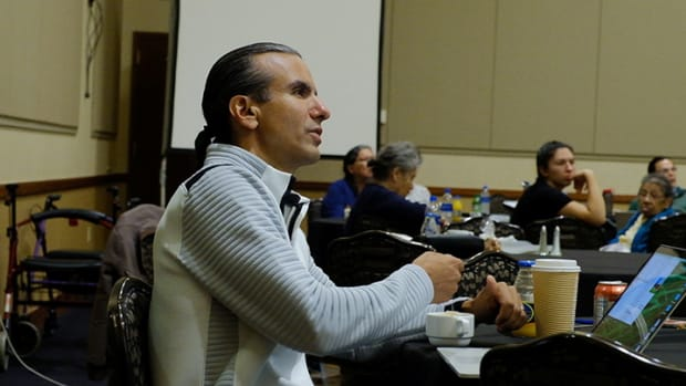 Anton Treuer, a professor of Ojibwe language at Bemidji State University, convenes a meeting of Ojibwe language native speakers, elders and academics.