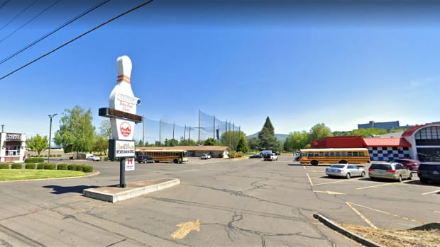 The Coquille Tribe wants to renovate and expand a bowling alley it owns in Medford into a casino -- named The Cedars at Bear Creek. The casino would be part of an entertainment, dining and sports complex that would include the tribe's Bear Creek Golf Course, at left; and a proposed hotel to the right. (Courtesy / Google)