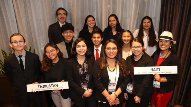 We are so proud of our MUN: Indigenous Delegation National High School Model United Nations (NHSMUN) in NYC!! Thanks to all who supported to make this journey possible - over 150 donors for one great event. Congratulations Nathan Balk King and all of the MUN:I delegates!• Nathan Balk King (Rosebud Sioux), Sturgis Charter Public School, Hyannis, MA, MUN:I Founder and Director• Emily Staley (Navajo), Chinle High School, Chinle, AZ• Alyssa Noriega-House (Muscogee Creek/Seminole), Oneida Nation High School, Green Bay, WI• Nalzheii Lonetree (Ho Chunk/Navajo), Northland Preperatory Academy, Flagstaff, AZ• Leida (Yelih) Rodriguez (Oneida), Oneida Nation High School, Green Bay, WI• Zaden Salabye (Navajo), Grey Hill's Academy High School, Tuba City, AZ• Karen Guise (Red Lake Band of Chippewa), Red Lake High School, Red Lake, MN• Chase Baird (Rosebud Sioux/Navajo), Red Cloud Indian School, Pine Ridge, SD• Kianna Joe (Navajo), Cibola High School, Albuquerque, NM• Lacey Cachucha (Jicarilla Apache), Cibola High School, Albuquerque, NM• Veronica Toledo (Navajo), New Mexico School for the Arts, Santa Fe, NM• Garen Growing Thunder (Nez Perce/Nakota/Dakota), Genesee High School, Genesee, ID• Ariayna Yellowbank (Cheyenne Arapaho/Ho Chunk Winnebago of Nebraska), Watonga High School, Watonga, OK. (Photo courtesy of MUN: Indigenous, Facebook)
