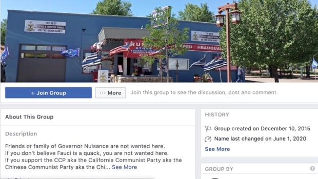 """One group transformed itself last month from """"Reopen California"""" to """"California Patriots Pro Law & Order,"""" with recent posts mocking Black Lives Matter or changing the slogan to """"White Lives Matter."""" (Screenshot of Facebook page)"""