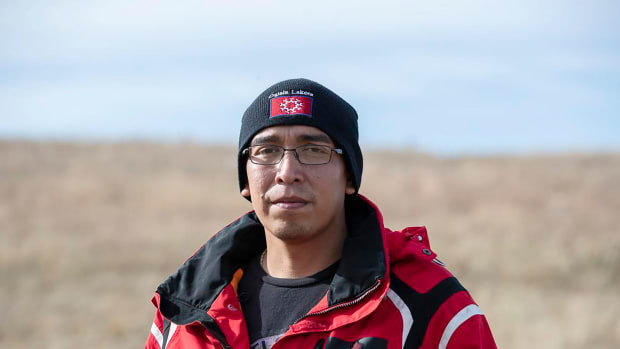 This October 2018 photo shows Oglala Sioux President Julian Bear Runner when he was running for tribal president. Bear Runner, is accused of driving drunk on the tribe's reservation, the only one in South Dakota that bans alcohol. A criminal complaint charges Bear Runner, with driving while intoxicated and also of threatening a man in Manderson, S.D., on May 2, 2020. (Ryan Hermans/Rapid City Journal via AP)