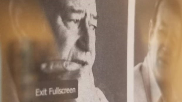 """A photo showing the """"exit fullscreen"""" on the printed out Playboy interview now on display in the exhibit. (photo by Natasha Brennan)"""