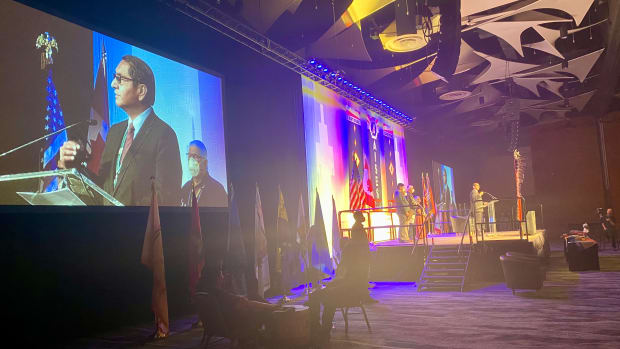 """At the AISES conference in Phoenix on Sept. 23, 2021, Navajo Nation President Jonathan Nez said, """"We are going to overcome this COVID-19 just as our ancestors overcame some of these difficult times in the history of all our people."""" (Photo by Carina Dominguez, Indian Country Today)"""