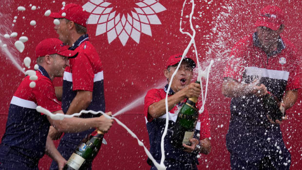 Team USA players celebrate after the Ryder Cup matches at the Whistling Straits Golf Course Sunday, Sept. 26, 2021, in Sheboygan, Wis. (AP Photo/Ashley Landis)