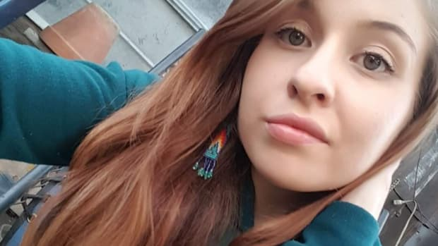 Pictured: Maddesyn George, a young Native mother from the Colville Reservation in Washington State, is currently incarcerated and being prosecuted by the U.S. Department of Justice for defending herself against a white man who raped her and threatened her life.