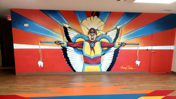 Mural in the commons room for the Ponca Tribe's Hope & Recovery Center by Pawnee / Apsáalooke / Chickasaw artist and activist Jeremy Fields.