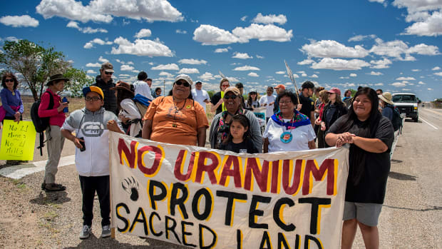 Pictured: Members of the Ute Mountain Ute Community during the 2019 spiritual walk to protect the White Mesa Ute community from the nearby White Mesa uranium mill.