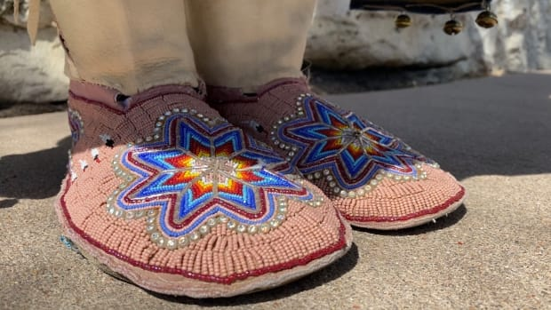 Beaded moccasins owned and worn by Kansas state Rep. Ponka-We Victors from fall 2020. (Photo by Jourdan Bennett-Begaye, Indian Country Today)
