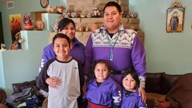 Julian Durand and his family. Durand was the top essayist at the University of New Mexico for Indigenous People's Day 2021. (Courtesy image)