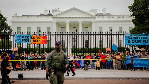 Pictured: On October 11, 2021, led by Indigenous water protectors, activists, and tribal leaders from across the country, hundreds of people took part in a protest at the White House on Monday, Indigenous Peoples Day, to demand that President Biden stop the fossil fuel projects that are threatening Native communities from Appalachia to Alaska.