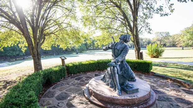 Pictured: Sequoyah statue on the grounds of Sequoyah's Cabin Museum in Sequoyah County, Oklahoma.