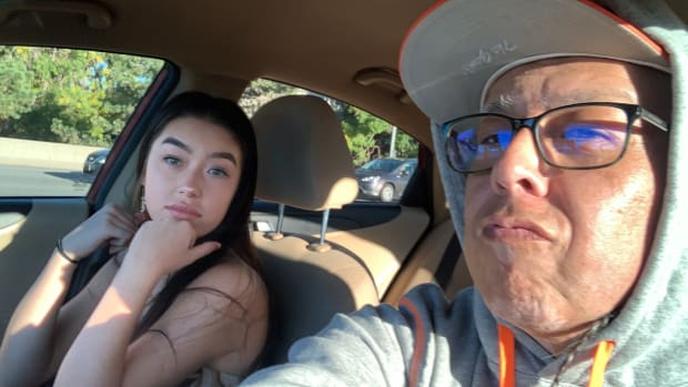 Native artist Bunky Echo-Hawk, Yakama/Pawnee, is shown with his daughter Alexie Echo-Hawk, Yakama/Pawnee, of Mosca, Colorado. The two were driving from Denver to Pawnee, Oklahoma, for a ceremonial dance when they were hit head-on by a wrong-way driver Oct. 16, 2021, on Interstate 70 in Kansas. Alexie, 15, was killed, and Bunky was injured. He was released from the hospital Oct. 17 but faces surgeries and a long recovery. (Photo courtesy of Crystal Echo Hawk)