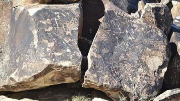 This undated file photo shows the petroglyphs of Grapevine Canyon just outside of Laughlin, Nev., near the Arizona state line. The Fort Mojave Indian Tribe is working to establish the Avi Kwa Ame National Monument to protect thousands of acres of land that include petroglyphs. (Julie Fairman/Mohave Valley Daily News via AP)