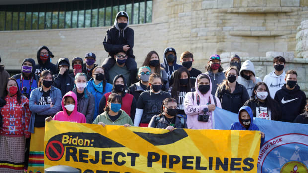 Pictured: Indigenous Youth and organizers outside of the National Museum of the American Indian in Washington DC, April 1, 2021.
