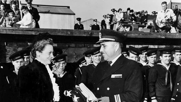 Lt. Cmdr. Earnest Edwin Evans at the commissioning ceremony for the USS Johnston in Oct. 27, 1943. He was the destroyer's commander until she was sunk in the Battle of Samar on Oct. 25, 1944, and was lost with the ship. (Photo courtesy of Cherokee Phoenix)