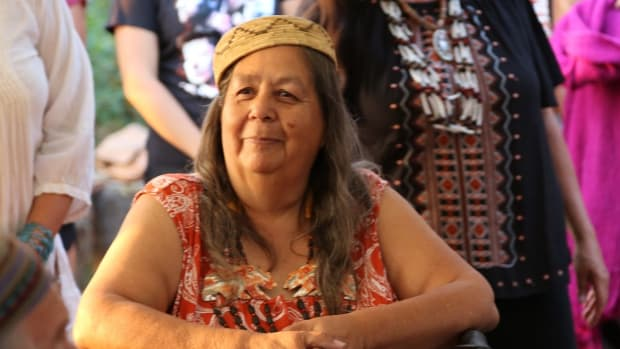 Tongva elder Julia Bogany - who worked tirelessly for the Gabrieleno Tongva Mission Band of Indians to keep preserve their culture and language - died on March 28, 2021 of complications from a stroke. She is shown here celebrating her birthday in 2018 at the Wishtoyo Chumash Foundation. (Photo courtesy of Pitzer College)