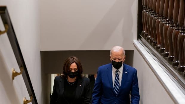 President Joe Biden and Vice President Kamala walk up the stairs in the West Wing of the White House Monday, March 29, 2021, following the President's remarks in the South Court Auditorium in the Eisenhower Executive Office Building at the White House. (Official White House Photo by Cameron Smith)