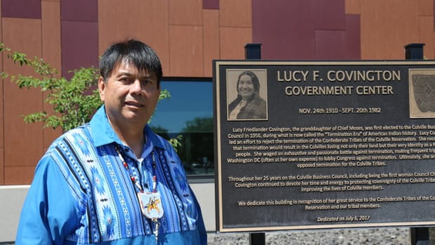 Chairman Rodney Cawston, Confederated Tribes of the Colville Reservation, stands in front of the Lucy Covington Government Center. Fifty years ago this week an election at Colville, led by Covington, ended the federal policy of termination. (Photo courtesy of the Confederated Tribes of the Colville Reservation)