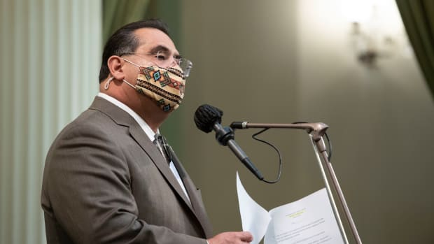 Assemblymember James C. Ramos presenting HR 40 on the Assembly floor on Thursday, May 6, 2021. (Photo courtesy of Assemblymember Ramos)