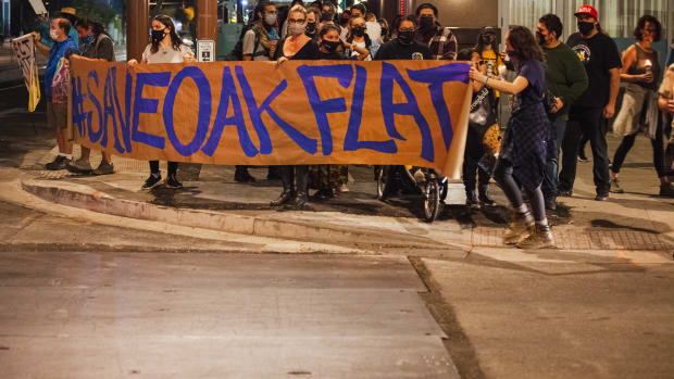 Apache Stronghold members march in Phoenix at a February, 2021 rally calling for courts to block plans for a copper mine at Oak Flat in southeast Arizona. (Photo by Alberto Mariani/Cronkite News)