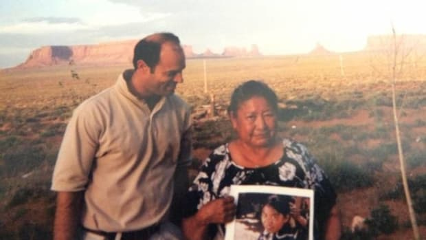 Filmmaker Jeff Spitz and Elsie Mae Begay. Elsie holds a photo of her younger self. (Courtesy Jeff Spitz)